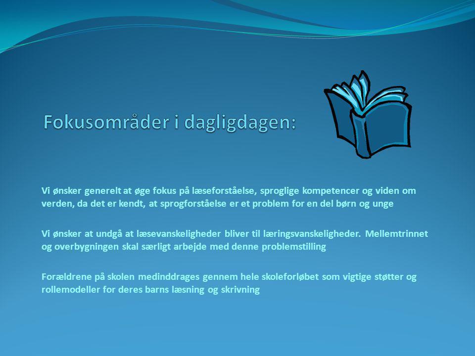 Vi ønsker generelt at øge fokus på læseforståelse, sproglige kompetencer og viden om verden, da det er kendt, at sprogforståelse er et problem for en