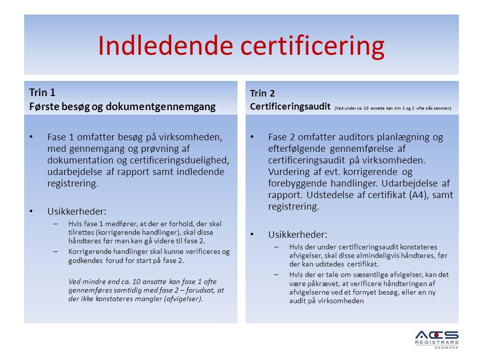 Indledende certificering Trin 1 Første besøg og dokumentgennemgang • Fase 1 omfatter besøg på virksomheden, med gennemgang og prøvning af dokumentatio