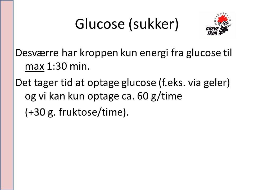 Glucose (sukker) Desværre har kroppen kun energi fra glucose til max 1:30 min.