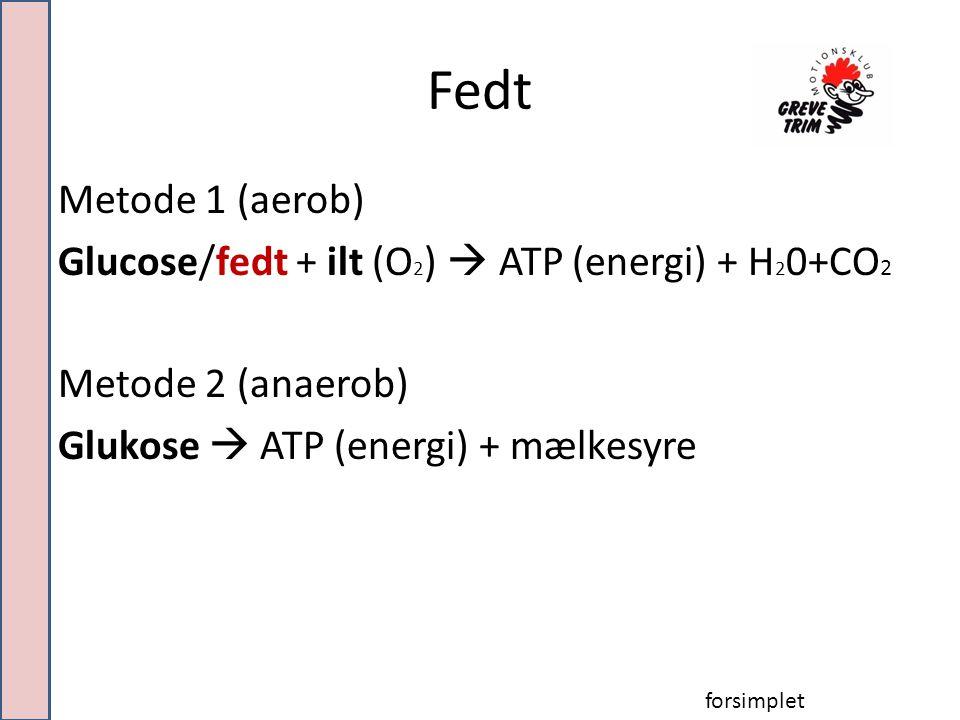 Fedt Metode 1 (aerob) Glucose/fedt + ilt (O 2 )  ATP (energi) + H 2 0+CO 2 Metode 2 (anaerob) Glukose  ATP (energi) + mælkesyre forsimplet