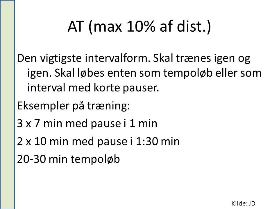 AT (max 10% af dist.) Den vigtigste intervalform.Skal trænes igen og igen.