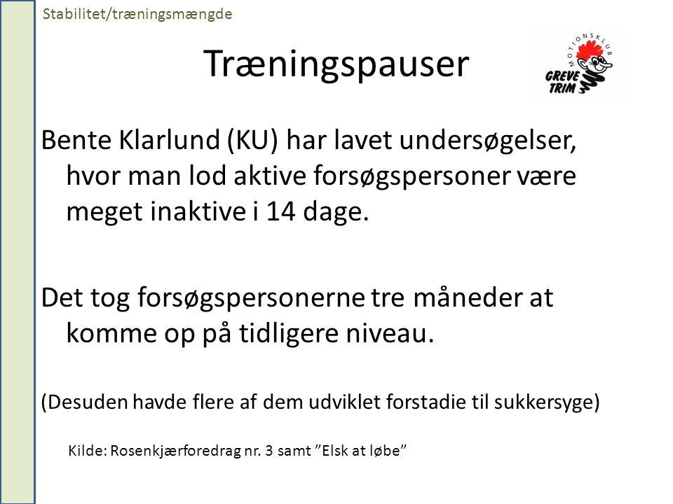 Træningspauser Bente Klarlund (KU) har lavet undersøgelser, hvor man lod aktive forsøgspersoner være meget inaktive i 14 dage.