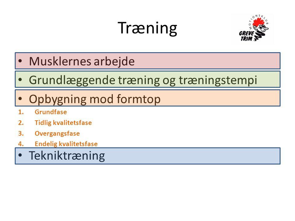 Træning • Musklernes arbejde • Grundlæggende træning og træningstempi • Opbygning mod formtop • Tekniktræning 1.Grundfase 2.Tidlig kvalitetsfase 3.Overgangsfase 4.Endelig kvalitetsfase