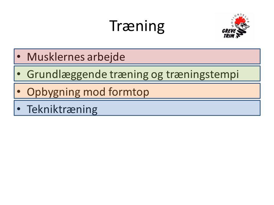 Træning • Musklernes arbejde • Grundlæggende træning og træningstempi • Opbygning mod formtop • Tekniktræning