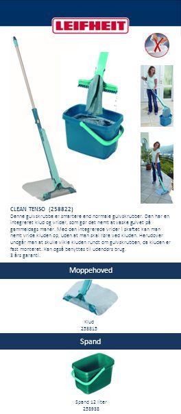 Spand CLEAN TENSO (258822) Denne gulvskrubbe er smartere end normale gulvskrubber. Den har en integreret klud og vrider, som gør det nemt at vaske gul