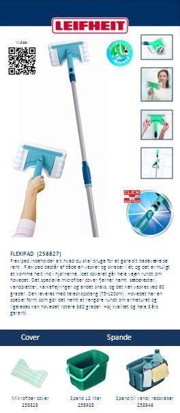 FLEXIPAD (258827) Flexipad indeholder alt hvad du skal bruge for at gøre dit badeværelse rent. Flexipad består af både en vasker og skraber i ét, og d