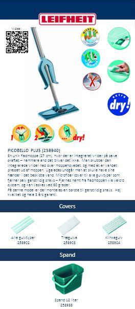 Covers Spand PICOBELLO PLUS (258940) En unik fladmoppe (27 cm), hvor der er integreret vrider på selve skaftet – nemmere end det bliver det ikke. Man