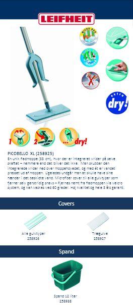 Covers Spand PICOBELLO XL (258925) En unik fladmoppe (33 cm), hvor der er integreret vrider på selve skaftet – nemmere end det bliver det ikke. Man sk