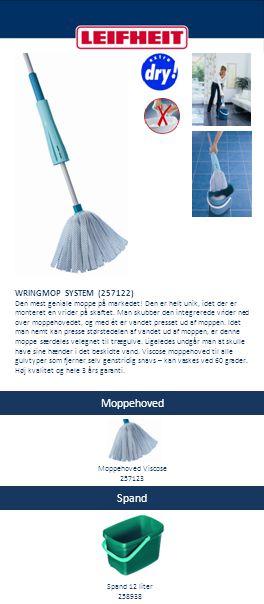 Moppehoved Spand & tilbehør CLASSIC MOP (257125) Denne moppe er af høj kvalitet, og det er meget nemt at skifte hovedet, som blot klikkes af.