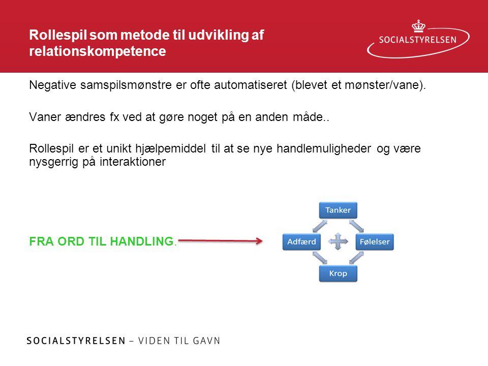 Rollespil som metode til udvikling af relationskompetence Negative samspilsmønstre er ofte automatiseret (blevet et mønster/vane). Vaner ændres fx ved