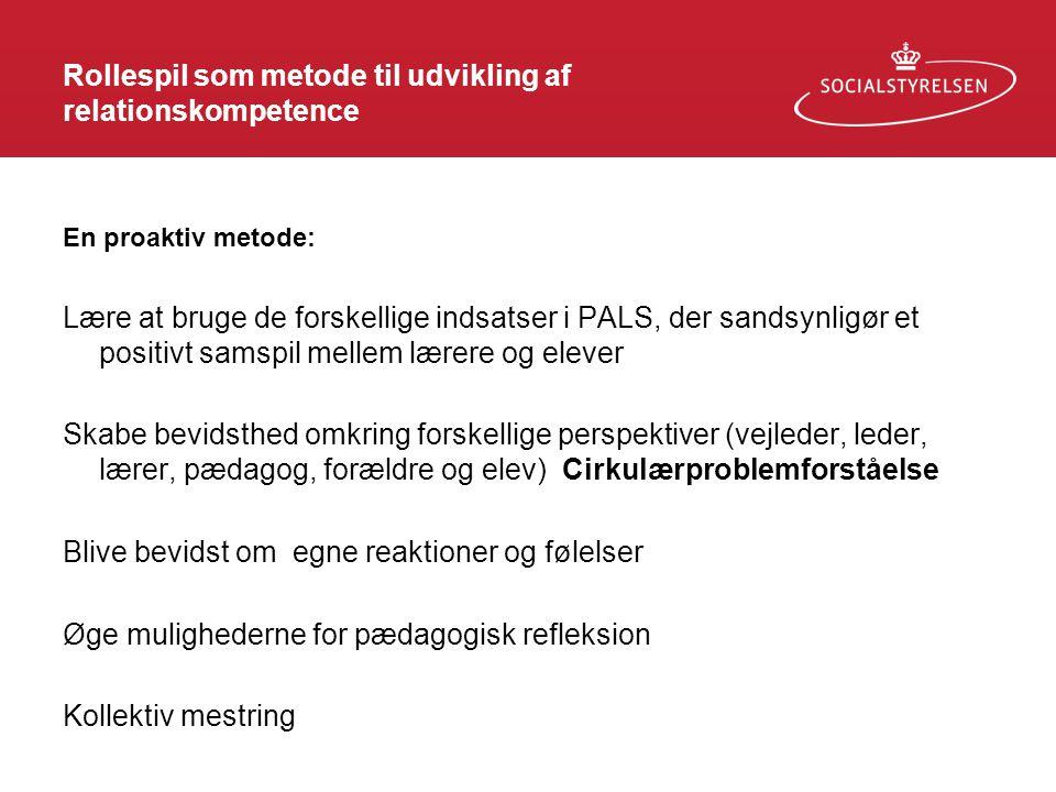 Rollespil som metode til udvikling af relationskompetence En proaktiv metode: Lære at bruge de forskellige indsatser i PALS, der sandsynligør et posit