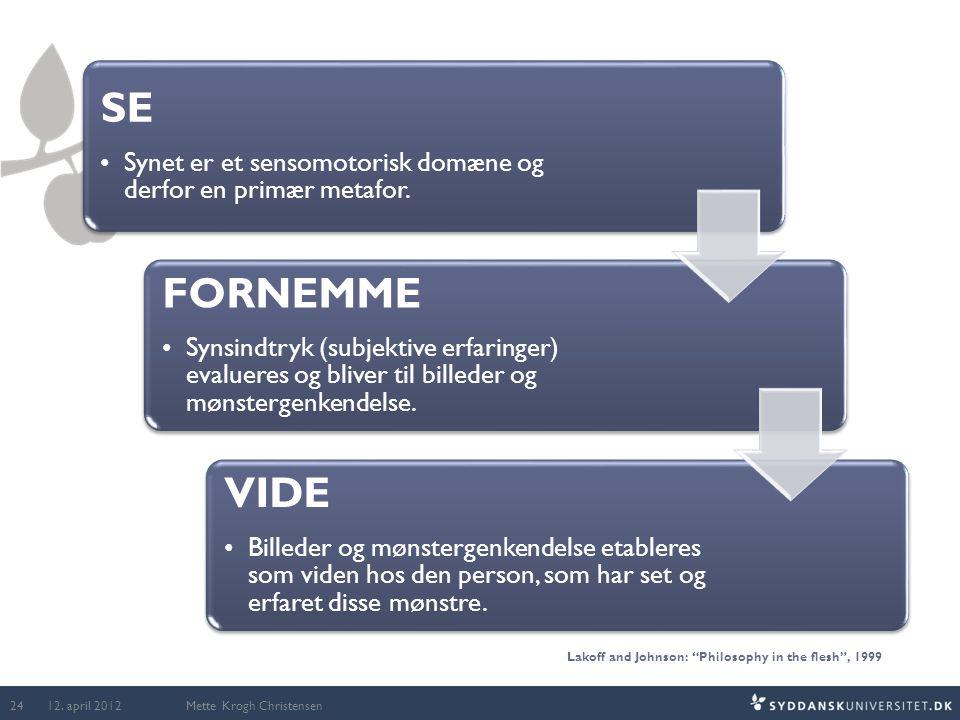 Mette Krogh Christensen SE •Synet er et sensomotorisk domæne og derfor en primær metafor. FORNEMME •Synsindtryk (subjektive erfaringer) evalueres og b