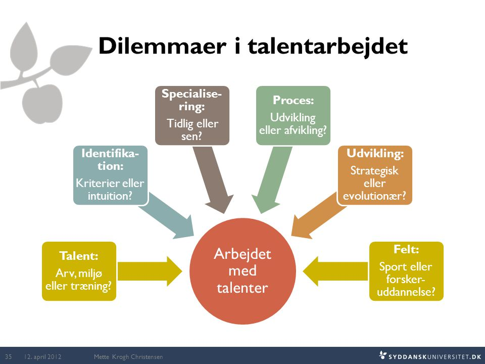 Arbejdet med talenter Talent: Arv, miljø eller træning? Identifika- tion: Kriterier eller intuition? Specialise- ring: Tidlig eller sen? Proces: Udvik