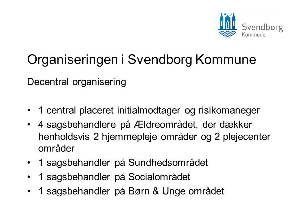 Organiseringen i Svendborg Kommune Decentral organisering •1 central placeret initialmodtager og risikomaneger •4 sagsbehandlere på Ældreområdet, der