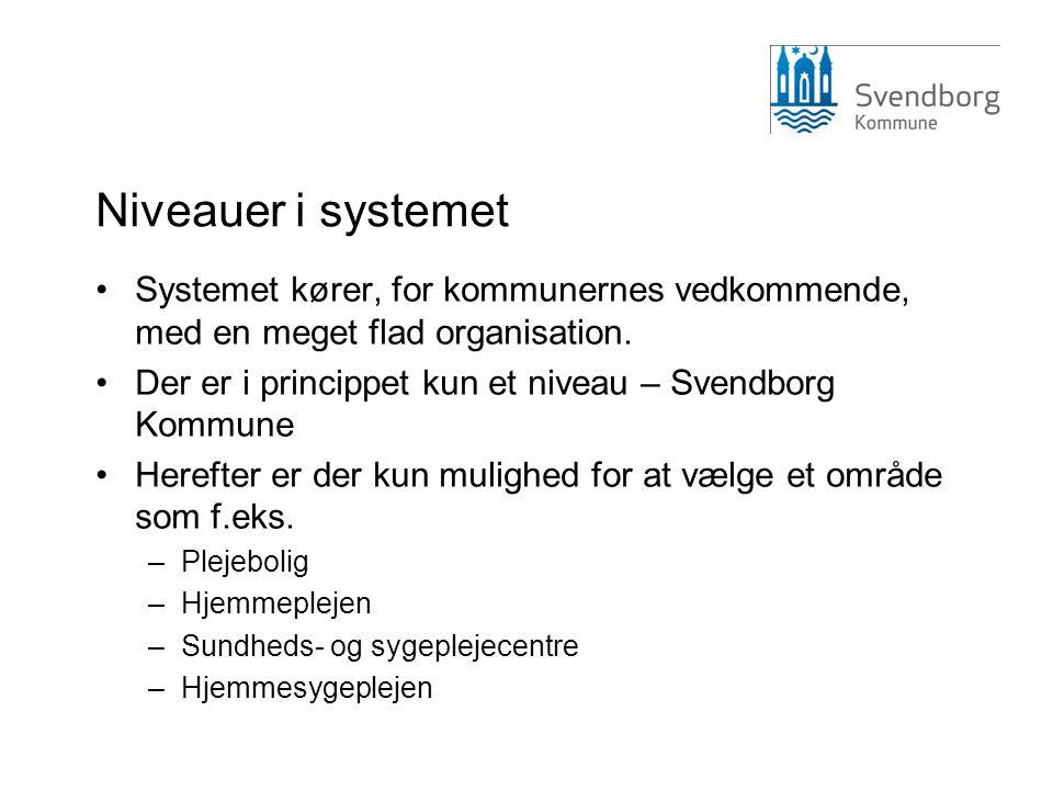 Niveauer i systemet •Systemet kører, for kommunernes vedkommende, med en meget flad organisation. •Der er i princippet kun et niveau – Svendborg Kommu