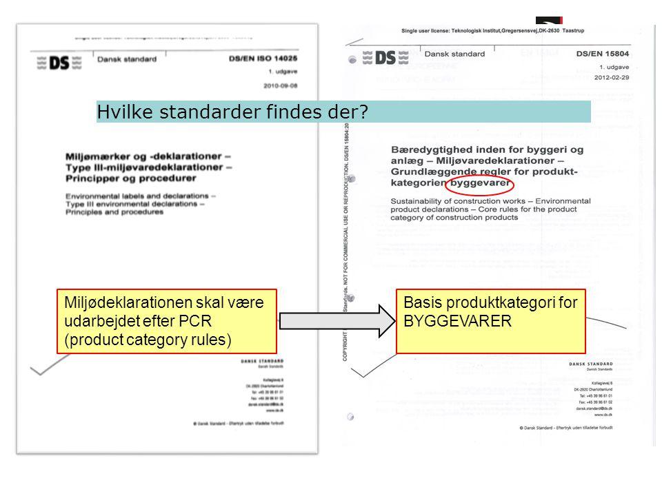 Hvilke standarder findes der? Miljødeklarationen skal være udarbejdet efter PCR (product category rules) Basis produktkategori for BYGGEVARER