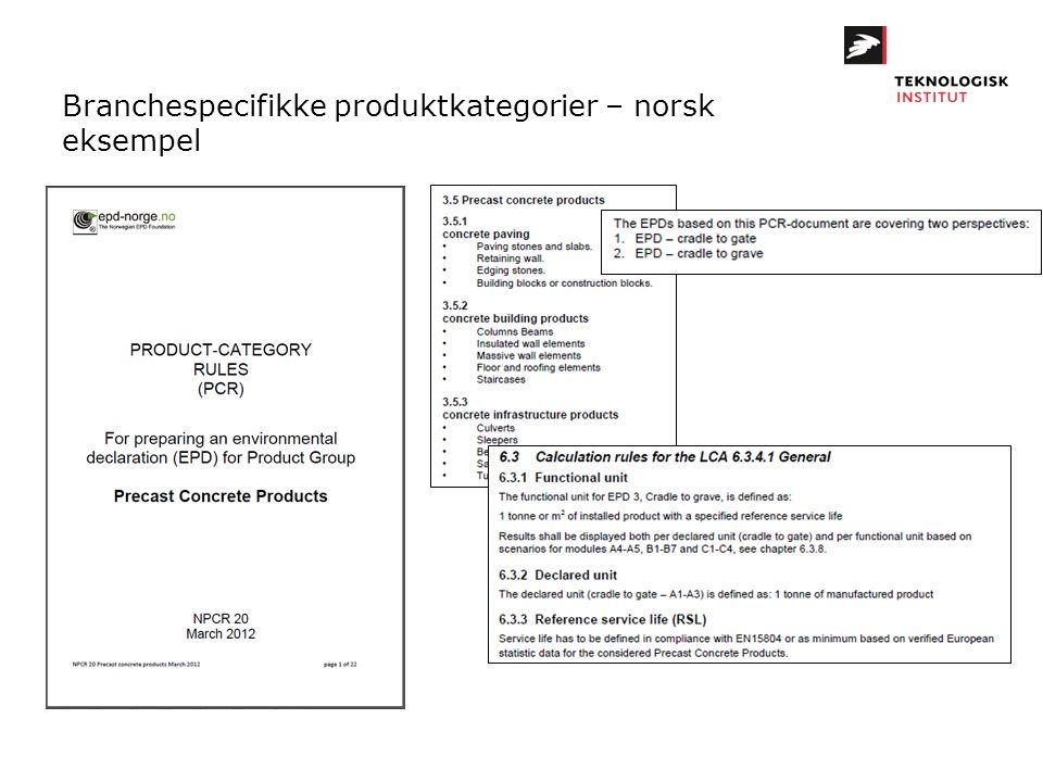 Branchespecifikke produktkategorier – norsk eksempel