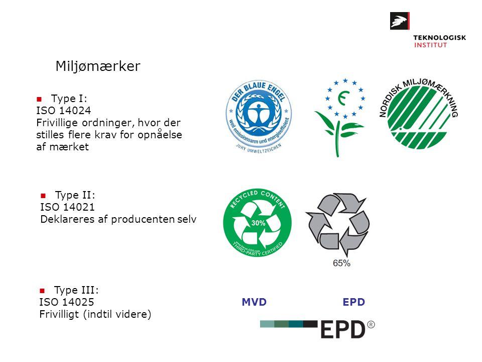 Miljømærker n Type I: ISO 14024 Frivillige ordninger, hvor der stilles flere krav for opnåelse af mærket n Type II: ISO 14021 Deklareres af producente