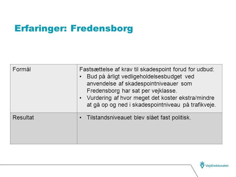 Erfaringer: Fredensborg FormålFastsættelse af krav til skadespoint forud for udbud: •Bud på årligt vedligeholdelsesbudget ved anvendelse af skadespointniveauer som Fredensborg har sat per vejklasse.