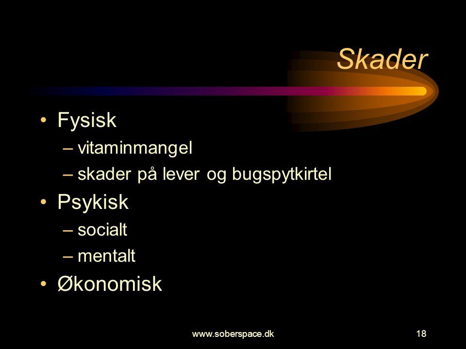 www.soberspace.dk18 Skader •Fysisk –vitaminmangel –skader på lever og bugspytkirtel •Psykisk –socialt –mentalt •Økonomisk