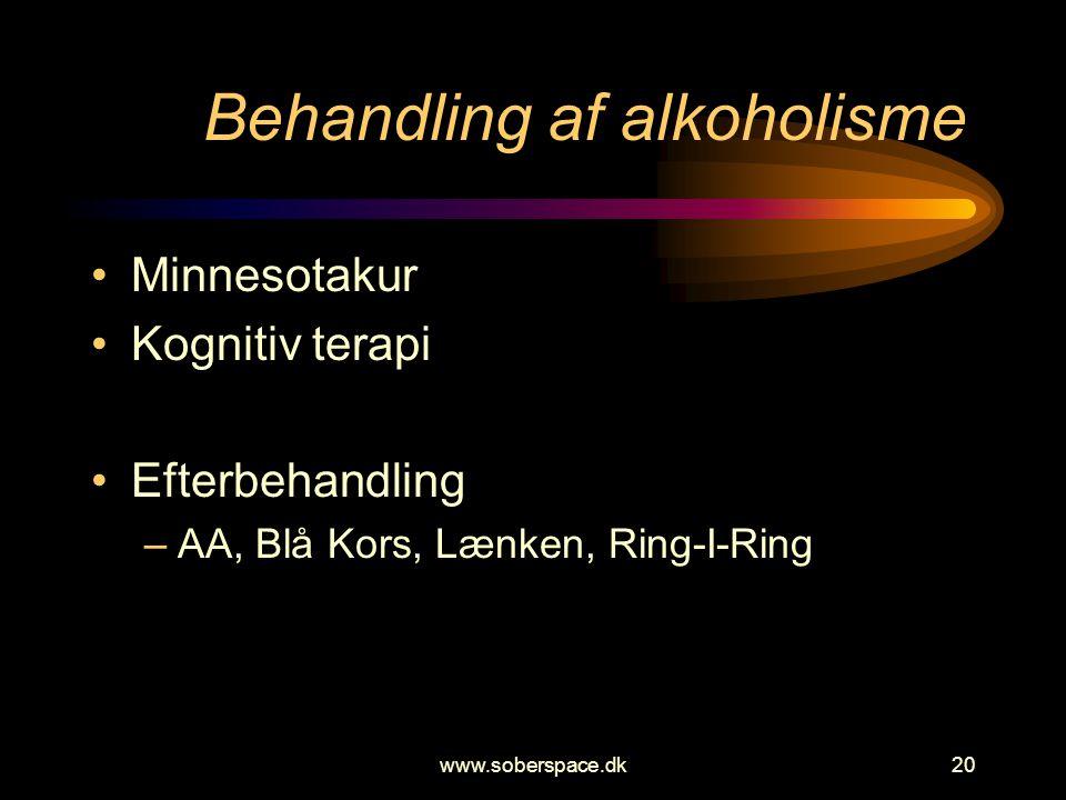 www.soberspace.dk20 Behandling af alkoholisme •Minnesotakur •Kognitiv terapi •Efterbehandling –AA, Blå Kors, Lænken, Ring-I-Ring