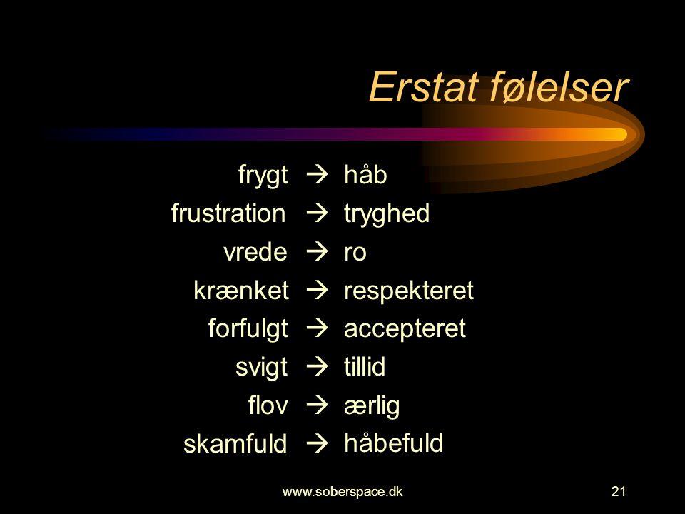www.soberspace.dk21 Erstat følelser frygt  frustration  vrede  krænket  forfulgt  svigt  flov  skamfuld  håb tryghed ro respekteret accepteret tillid ærlig håbefuld