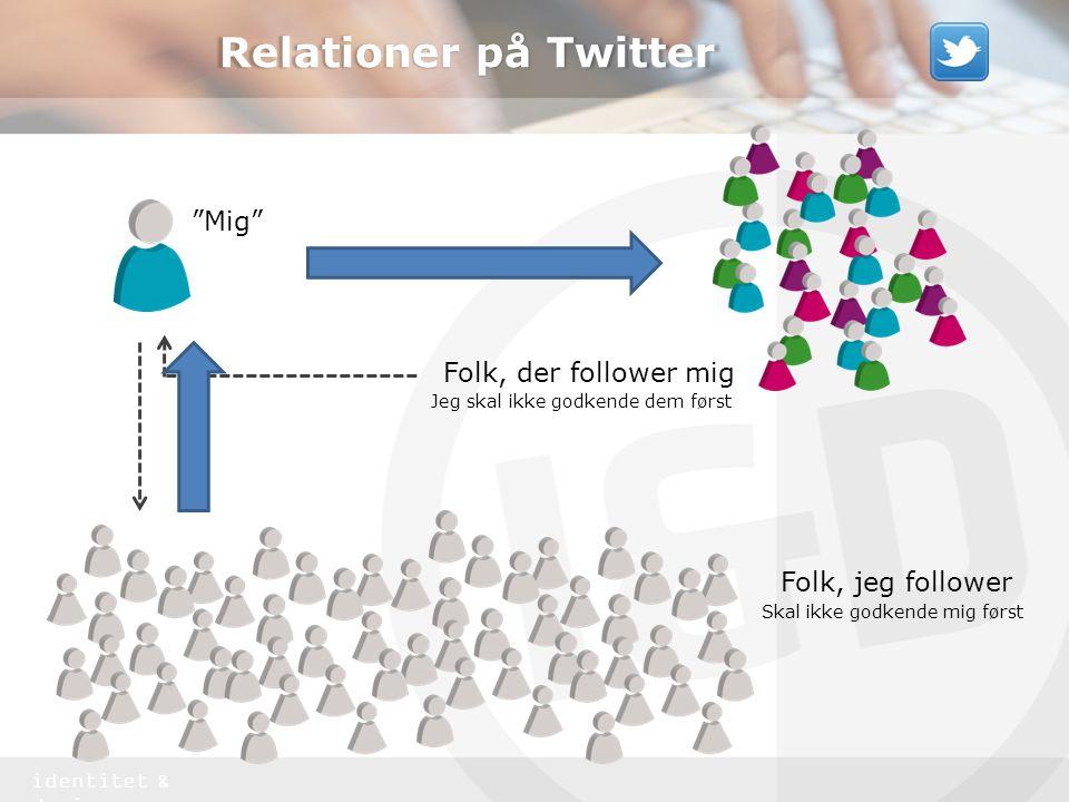 identitet & design Relationer på Twitter Mig Folk, der follower mig Jeg skal ikke godkende dem først Folk, jeg follower Skal ikke godkende mig først