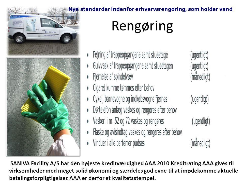 Rengøring Nye standarder indenfor erhvervsrengøring, som holder vand SANIVA Facility A/S har den højeste kreditværdighed AAA 2010 Kreditrating AAA gives til virksomheder med meget solid økonomi og særdeles god evne til at imødekomme aktuelle betalingsforpligtigelser.