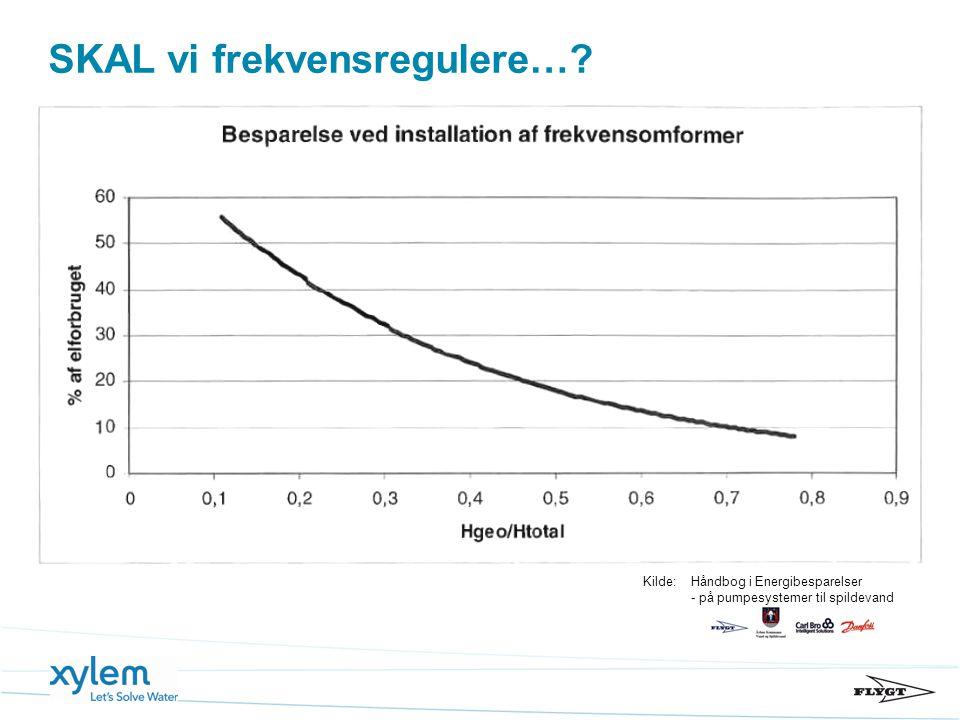 SKAL vi frekvensregulere…? Kilde:Håndbog i Energibesparelser - på pumpesystemer til spildevand