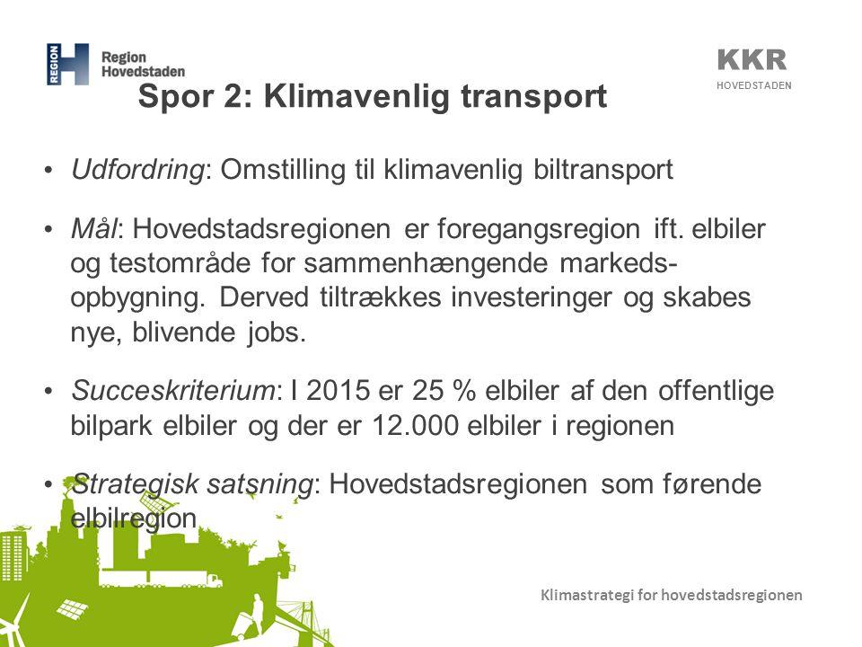 KKR HOVEDSTADEN Klimastrategi for hovedstadsregionen Spor 2: Klimavenlig transport • Udfordring: Omstilling til klimavenlig biltransport • Mål: Hovedstadsregionen er foregangsregion ift.