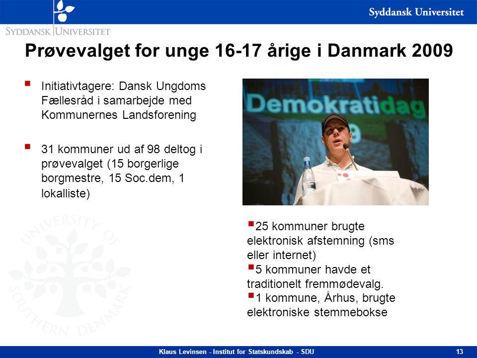 Prøvevalget for unge 16-17 årige i Danmark 2009  Initiativtagere: Dansk Ungdoms Fællesråd i samarbejde med Kommunernes Landsforening  31 kommuner ud
