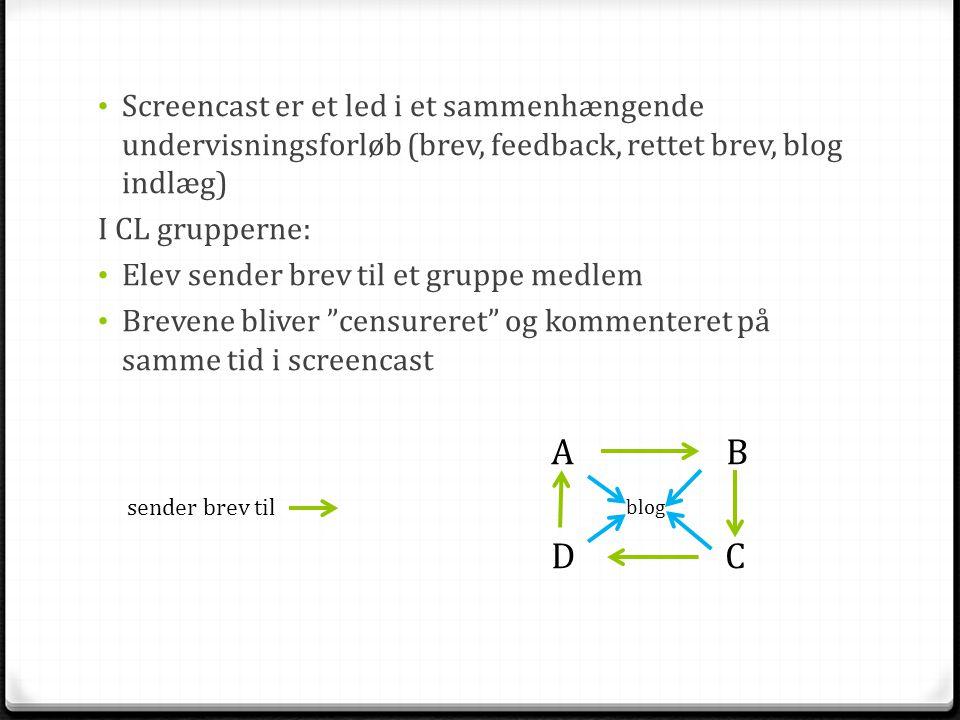 • Screencast er et led i et sammenhængende undervisningsforløb (brev, feedback, rettet brev, blog indlæg) I CL grupperne: • Elev sender brev til et gr