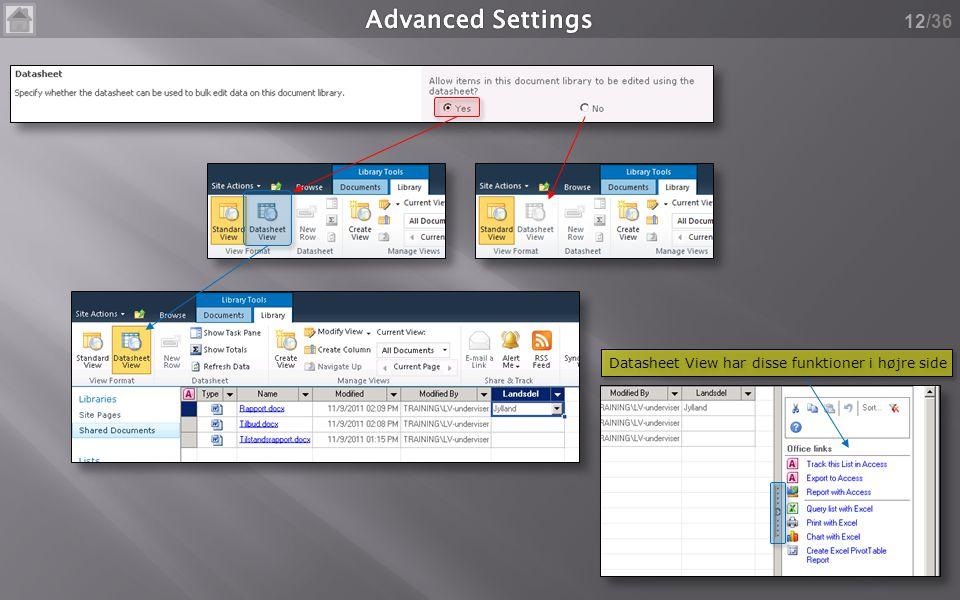 /36 12 Datasheet View har disse funktioner i højre side