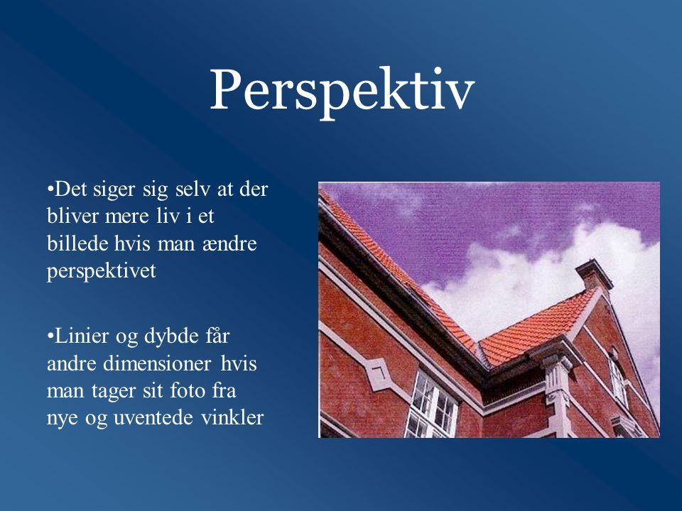 Perspektiv •Det siger sig selv at der bliver mere liv i et billede hvis man ændre perspektivet •Linier og dybde får andre dimensioner hvis man tager sit foto fra nye og uventede vinkler