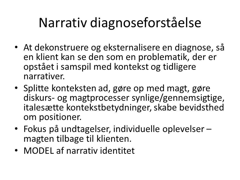 Narrativ diagnoseforståelse • At dekonstruere og eksternalisere en diagnose, så en klient kan se den som en problematik, der er opstået i samspil med