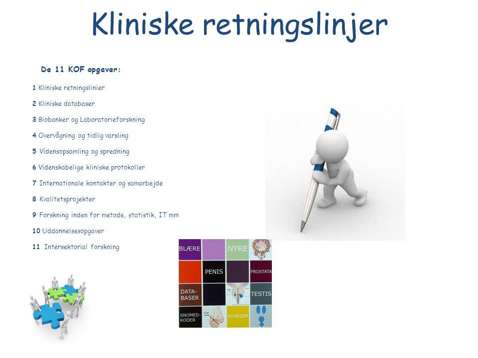 Kliniske retningslinjer De 11 KOF opgaver: 1 Kliniske retningslinier 2 Kliniske databaser 3 Biobanker og Laboratorieforskning 4 Overvågning og tidlig