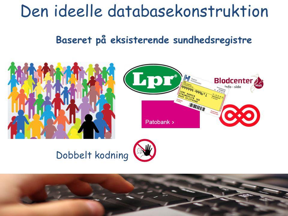 Baseret på eksisterende sundhedsregistre Dobbelt kodning Den ideelle databasekonstruktion