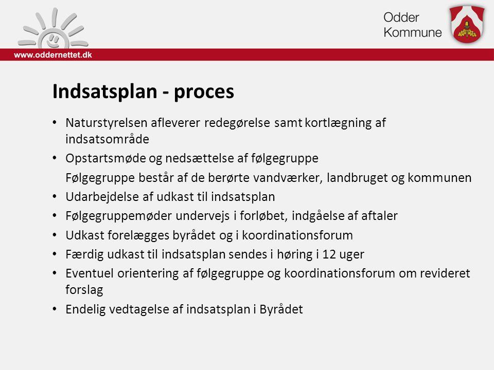 Indsatsplan - proces • Naturstyrelsen afleverer redegørelse samt kortlægning af indsatsområde • Opstartsmøde og nedsættelse af følgegruppe Følgegruppe