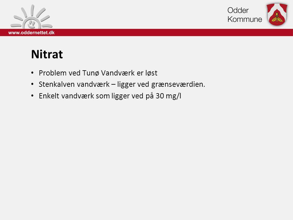 Nitrat • Problem ved Tunø Vandværk er løst • Stenkalven vandværk – ligger ved grænseværdien. • Enkelt vandværk som ligger ved på 30 mg/l