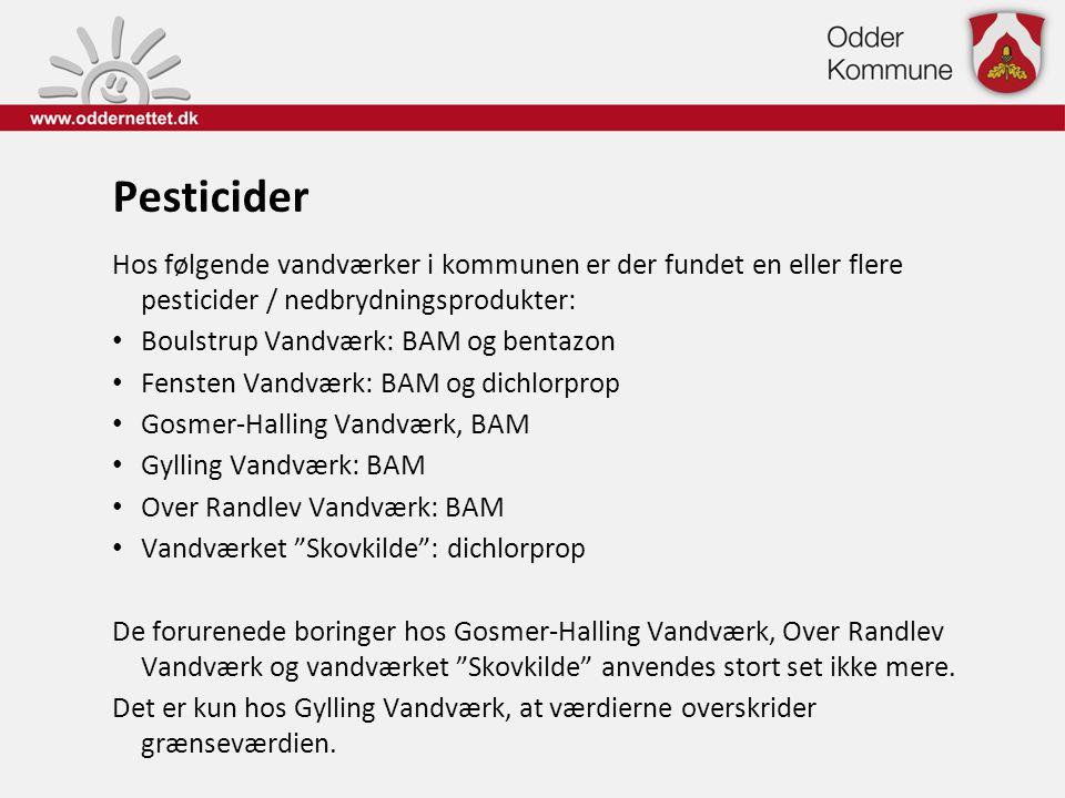 Pesticider Hos følgende vandværker i kommunen er der fundet en eller flere pesticider / nedbrydningsprodukter: • Boulstrup Vandværk: BAM og bentazon •