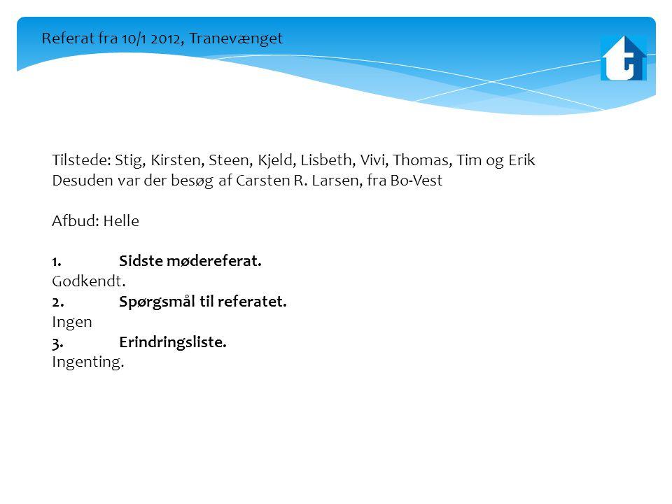 Tilstede: Stig, Kirsten, Steen, Kjeld, Lisbeth, Vivi, Thomas, Tim og Erik Desuden var der besøg af Carsten R.