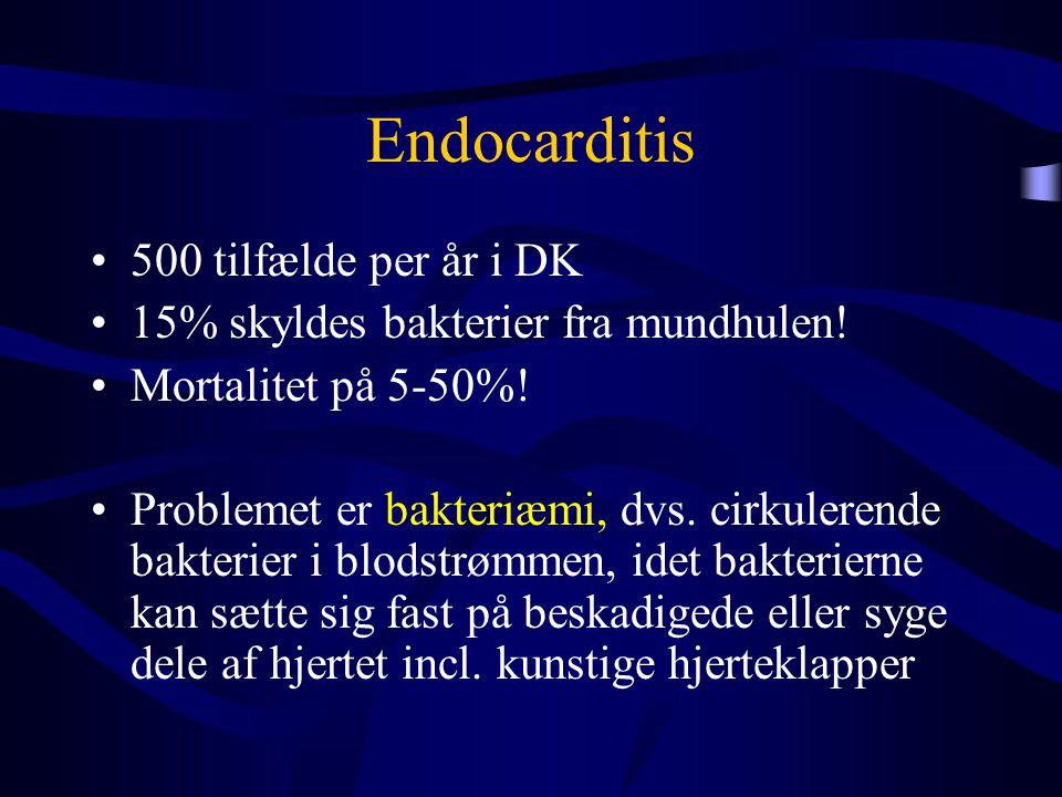 •500 tilfælde per år i DK •15% skyldes bakterier fra mundhulen! •Mortalitet på 5-50%! •Problemet er bakteriæmi, dvs. cirkulerende bakterier i blodstrø