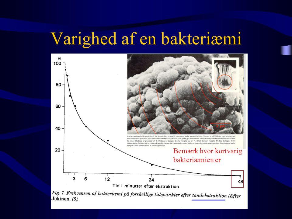 Varighed af en bakteriæmi Bemærk hvor kortvarig bakteriæmien er