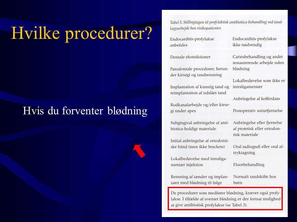 Hvilke procedurer? Hvis du forventer blødning