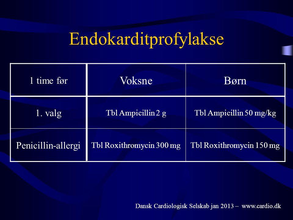 Endokarditprofylakse 1 time før VoksneBørn 1. valg Tbl Ampicillin 2 gTbl Ampicillin 50 mg/kg Penicillin-allergi Tbl Roxithromycin 300 mgTbl Roxithromy