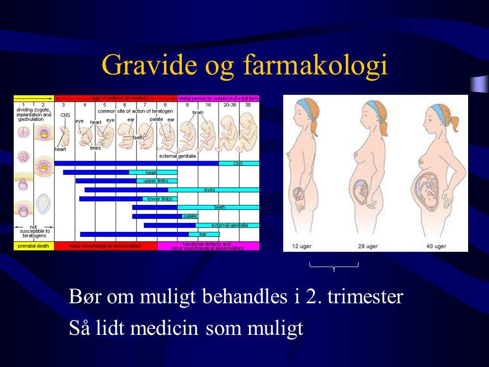 Gravide og farmakologi Bør om muligt behandles i 2. trimester Så lidt medicin som muligt