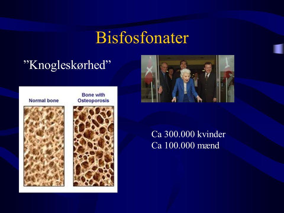 """Bisfosfonater """"Knogleskørhed"""" Ca 300.000 kvinder Ca 100.000 mænd"""