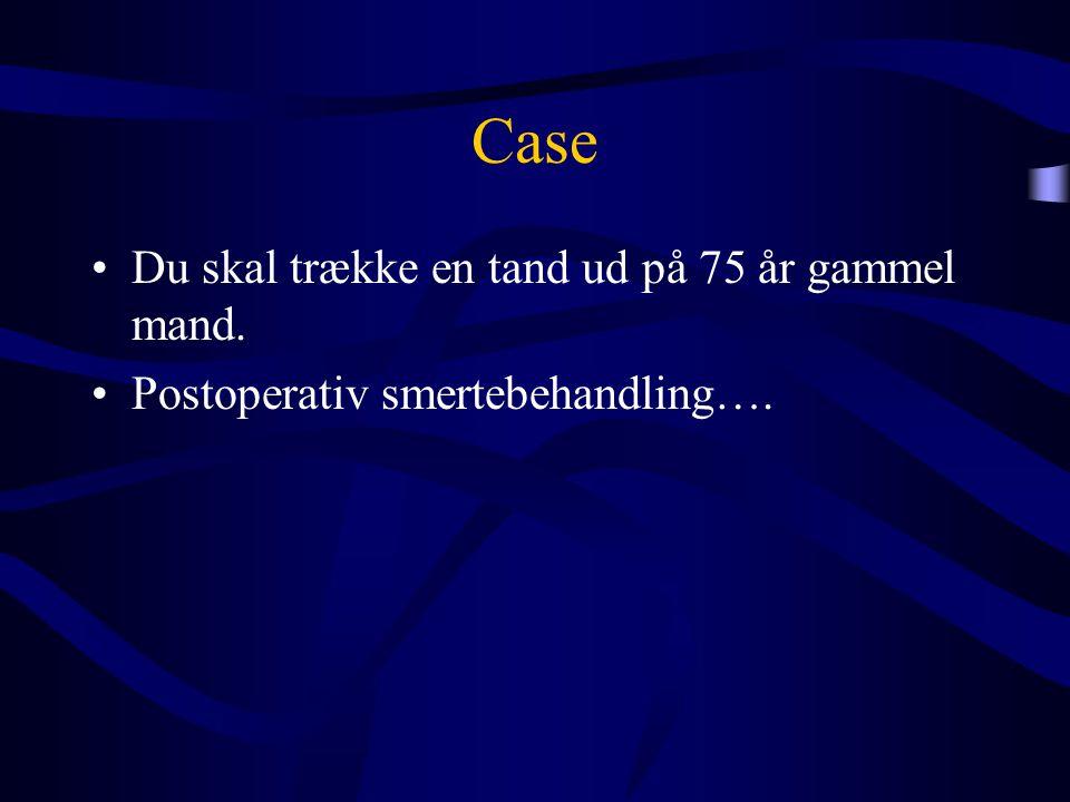 Case •Du skal trække en tand ud på 75 år gammel mand. •Postoperativ smertebehandling….