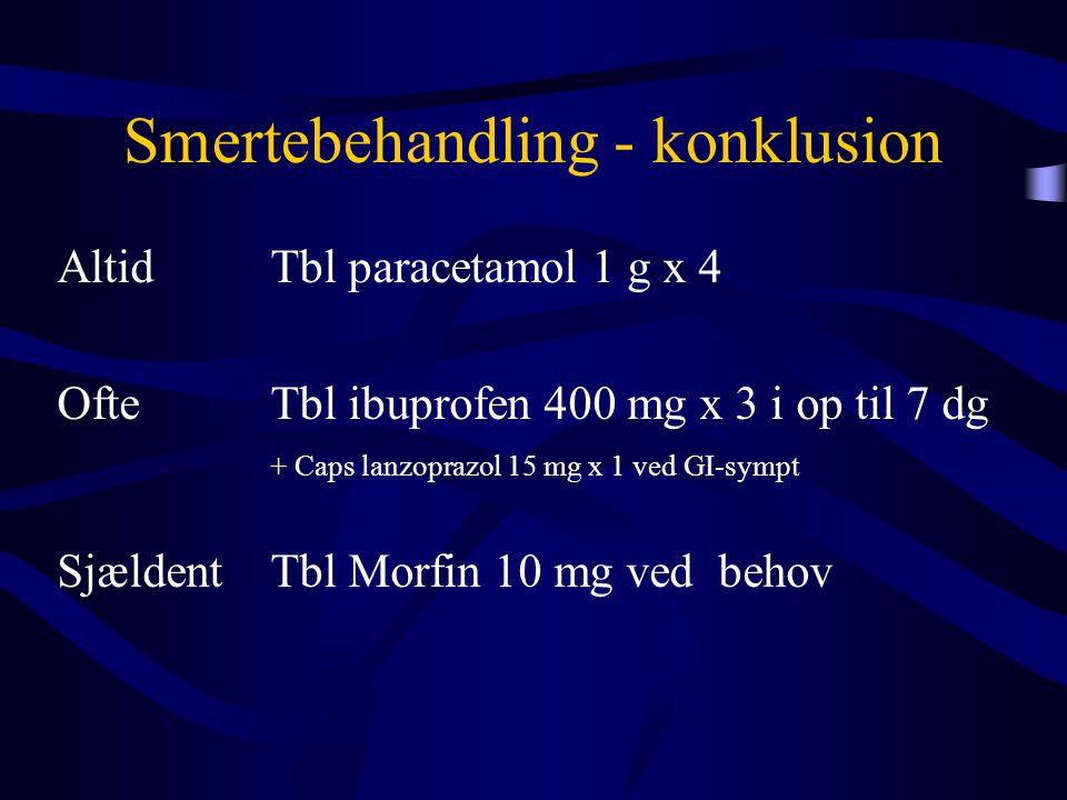 Smertebehandling - konklusion Altid Tbl paracetamol 1 g x 4 OfteTbl ibuprofen 400 mg x 3 i op til 7 dg + Caps lanzoprazol 15 mg x 1 ved GI-sympt Sjæld