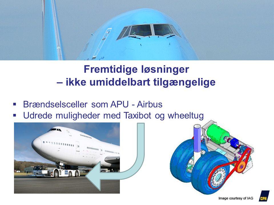 Fremtidige løsninger – ikke umiddelbart tilgængelige  Brændselsceller som APU - Airbus  Udrede muligheder med Taxibot og wheeltug